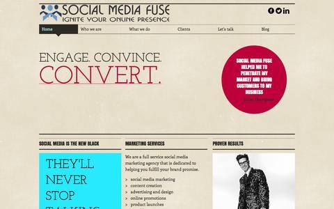 Screenshot of Home Page socialmediafuse.com - Social Media Marketing Agency - captured Oct. 6, 2014