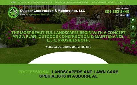 Screenshot of Home Page out1door.com - Landscapers Lawn Care - Auburn, AL - Outdoor Construction & Maintenance - captured Oct. 21, 2017