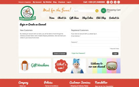 Screenshot of Login Page gagababy.ie - Customer Login - captured Oct. 1, 2014