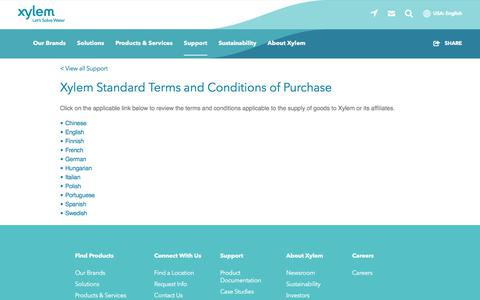 Screenshot of Terms Page xylem.com - Xylem Standard Terms and Conditions of Purchase   Xylem US - captured Nov. 9, 2019