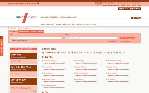 Screenshot of Jobs Page energycrossing.com - Energy Jobs, Browse Jobs in Energy By Job Type, City, State in United States | EnergyCrossing.com - captured July 19, 2018