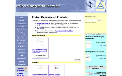 Screenshot of Products Page project-management-knowhow.com - Project Management Products - captured Sept. 27, 2018