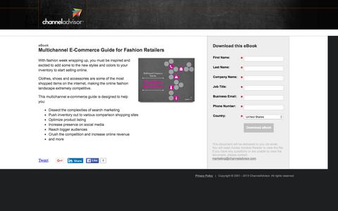 Screenshot of Landing Page channeladvisor.com - Multichannel E-Commerce Guide for Fashion Retailers | ChannelAdvisor - captured March 3, 2016