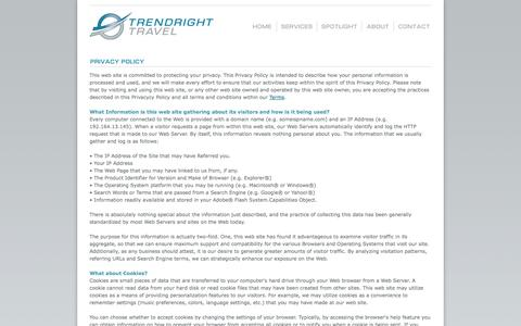 Screenshot of Privacy Page trendrighttravel.com - TrendRight Travel - Full-Service Travel Agency - Caribbean Travel, Group Travel, Destination Weddings, Private Jets - captured Oct. 9, 2014