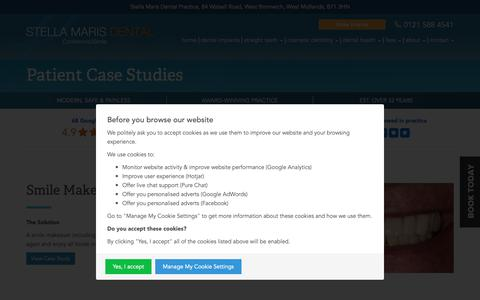 Screenshot of Case Studies Page confidence2smile.co.uk - Patient Case Studies | Stella Maris Dental Practice | West Bromwich - captured Oct. 20, 2018