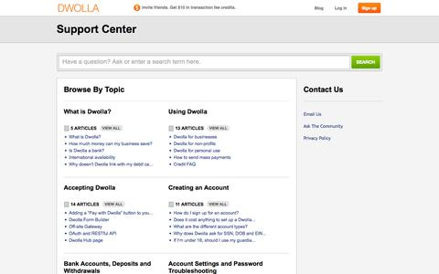 Screenshot of Support Page dwolla.com - Dwolla |         Portal - captured Sept. 15, 2014