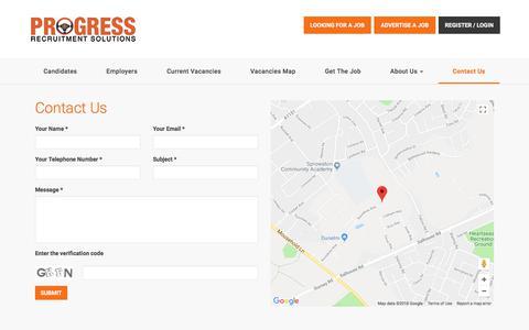 Screenshot of Contact Page progressrecruitment.co.uk - Contact Us   Motor Trade Recruitment Specialists   Progress Recruitment - captured April 26, 2018