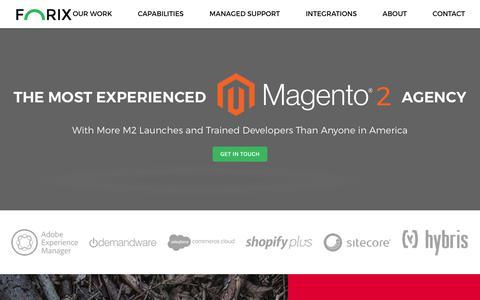 Screenshot of Home Page forixcommerce.com - Top Magento Developer, Best Magento Agency, Magento B2B, Magento eCommerce Development, Adobe Commerce Cloud - captured Nov. 13, 2018