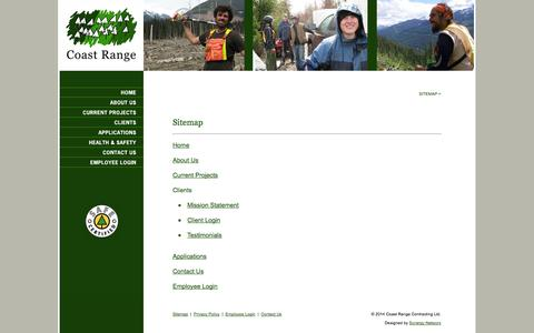 Screenshot of Site Map Page coastrange.ca - Coast Range Contracting Ltd. - Sitemap - captured Oct. 3, 2014