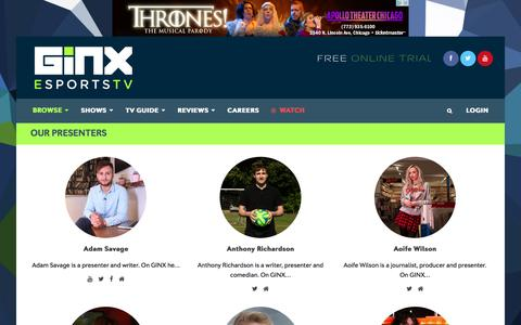 Screenshot of Team Page ginx.tv - Our Presenters - GINX - captured Nov. 7, 2016