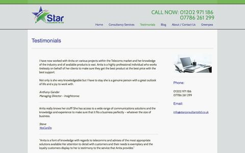 Screenshot of Testimonials Page starconsultantsltd.co.uk - Testimonials |  Star Consultants - captured Oct. 6, 2014