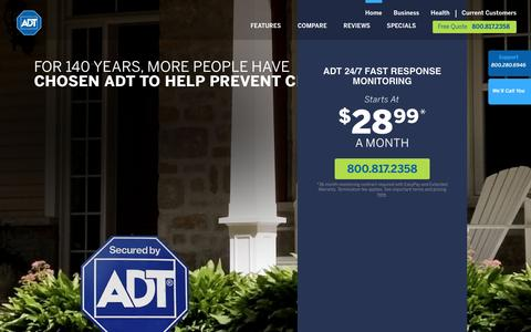 Screenshot of Home Page adt.com - ADT Security Systems: Home Automation, Alarms & Surveillance - captured July 23, 2016