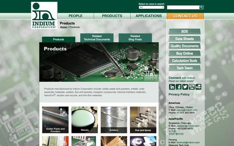 Screenshot of Products Page indium.com - List of products manufactured by Indium Corporation - captured Dec. 12, 2018