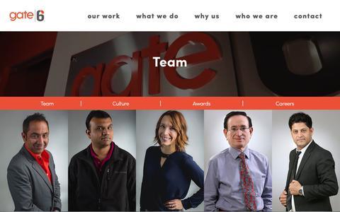Screenshot of Team Page gate6.com - Gate6 Team- Developers & Mareketers - captured April 4, 2017