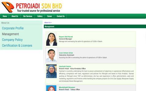 Screenshot of Team Page petrojadi.com.my - Management | Petrojadi Sdn Bhd - captured Sept. 27, 2018