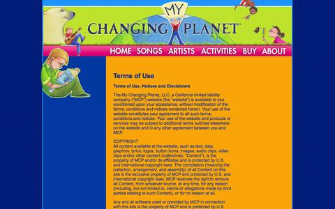 Screenshot of Terms Page mychangingplanet.com - My Changing Planet - captured Sept. 30, 2014
