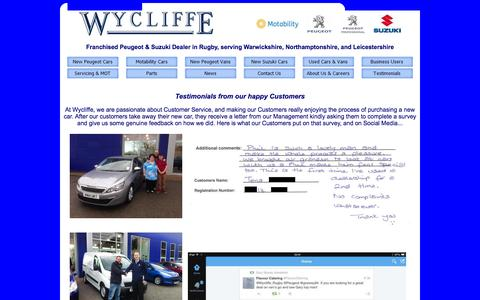 Screenshot of Testimonials Page wyclifferugby.co.uk - Wycliffe - Testimonials from our happy Customers - captured Oct. 26, 2014