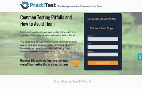 Screenshot of Landing Page practitest.com - Common Testing Pitfalls and How to Avoid Them - captured July 24, 2017