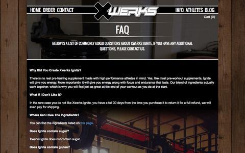 Screenshot of FAQ Page xwerks.com - XWERKS | Elite Nutrition For Elite Athletes - captured Oct. 7, 2014