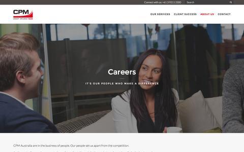 Screenshot of Jobs Page cpm-aus.com.au - CPM Careers   Sales and Retail Marketing - CPM Australia - captured Jan. 23, 2016