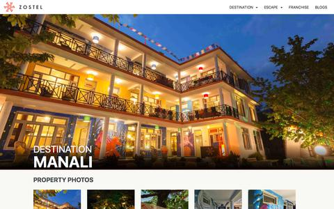 Screenshot of zostel.com - Zostel Manali | Top Rated Branded Hostel in Manali - captured July 29, 2017