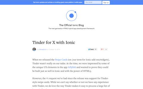Screenshot of Blog ionicframework.com - Ionic Blog - captured Oct. 29, 2014