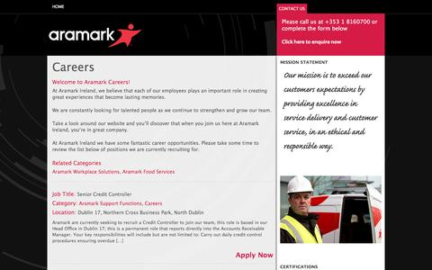 Screenshot of Jobs Page aramark.ie - Careers Archives - @ Aramark - You're in great company - captured Oct. 20, 2016