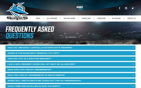 Screenshot of FAQ Page sharks.com.au - FAQ's - SHARKS - captured Jan. 31, 2016