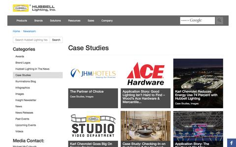 Screenshot of Case Studies Page hubbelllighting.com - Case Studies | Hubbell Lighting Newsroom - captured April 4, 2017