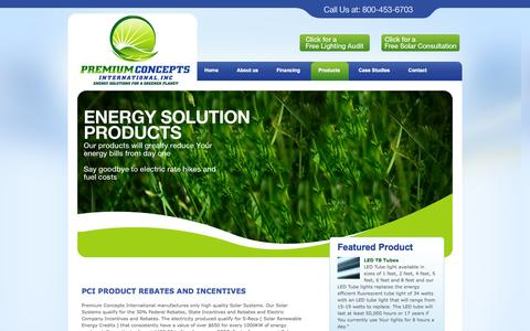 Screenshot of Products Page premiumconceptsintl.com - Premium Concepts International - Products - captured Oct. 8, 2014