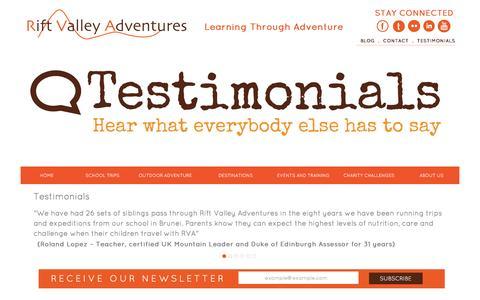 Screenshot of Testimonials Page riftvalleyadventures.com - Testimonials - captured Feb. 22, 2016