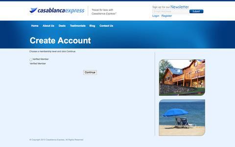 Screenshot of Signup Page casablancaexpress.com - Choose Your Membership Level | Casablanca Express - captured Sept. 26, 2014
