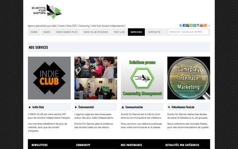 Screenshot of Services Page eventsforgames.com - Nos services: playtests, évènementiel, communication | Events for Games - captured Sept. 19, 2014