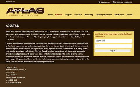 Screenshot of About Page atlasop.com - About Us  |  Atlas Office Products – Casper, WY - captured Oct. 4, 2014