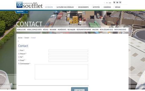 Screenshot of Contact Page soufflet.com - Contact - captured Feb. 20, 2018