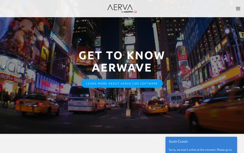 Screenshot of Home Page aerva.com - Aerva - Digital Signage Software - captured July 27, 2018