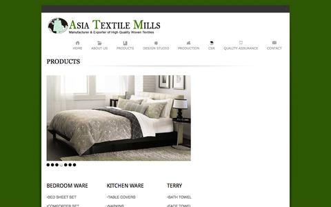 Screenshot of Products Page asiagroup.org - Products | Asia Textile Mills - captured Feb. 6, 2016