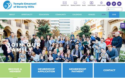 Screenshot of Signup Page tebh.org - Join - Temple Emanuel Beverly Hills - captured Oct. 18, 2018