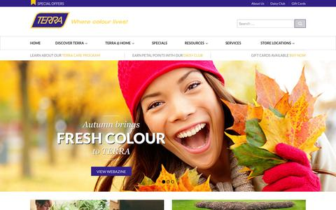 Screenshot of Home Page terragreenhouses.com - Garden Centre and Lifestyle Retailer - TERRA - captured Sept. 19, 2014
