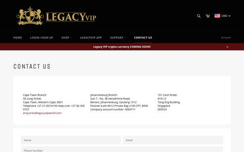 Screenshot of Contact Page legacy.vip - Contact Us – Legacy VIP - captured Nov. 3, 2018
