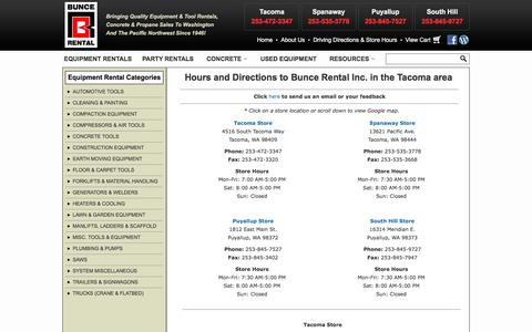 Screenshot of Maps & Directions Page buncerental.com - How to Contact Us in Tacoma & Puyallup WA | Directions to our Equipment Rental store in Puyallup Washington, Tacoma, South Hill, Spanaway, Parkland WA - captured Oct. 11, 2017