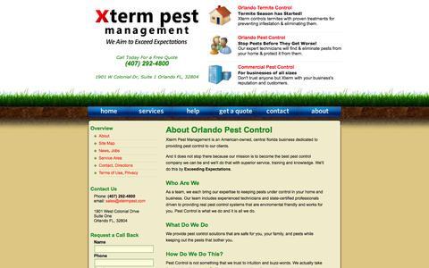 Screenshot of About Page xtermpest.com - Orlando Pest Control / Xterm Pest Management / About - captured Oct. 27, 2014