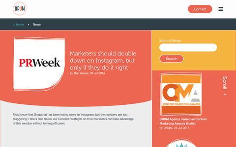 Screenshot of Press Page umarketing.com - DRUM Agency Marketing, Brand and Advertising News - captured July 26, 2018