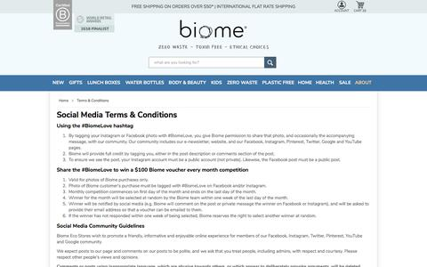 Screenshot of Terms Page biome.com.au - Terms & Conditions | Biome - captured Feb. 20, 2018