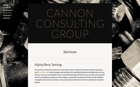 Screenshot of Services Page ccg-consultants.com - Services — Cannon Consulting Group - captured Jan. 25, 2016