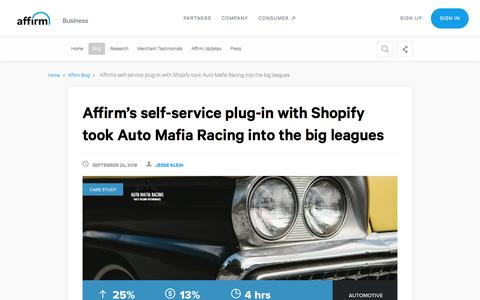 Screenshot of Case Studies Page affirm.com - Affirm's self-service feature took Auto Mafia Racing into the big leagues - captured Dec. 4, 2019
