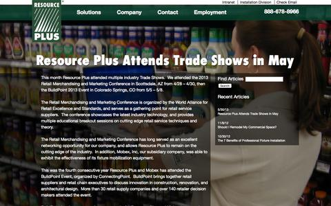 Screenshot of Press Page resourcep.com - News Archives | Resource PlusResource Plus - captured Oct. 6, 2014
