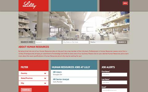 Screenshot of Jobs Page lilly.com - Search Human Resources Jobs at Lilly - captured Aug. 7, 2017