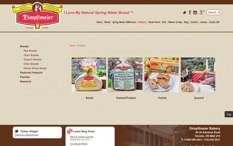 Screenshot of Products Page dimpflmeierbakery.com - Products Archive | Dimpflmeier Bakery - captured Feb. 9, 2016