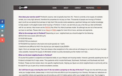 Screenshot of FAQ Page portlandapartmentfinder.com - Rental Agency Portland Oregon - Portland Apartment Finder - captured July 14, 2016